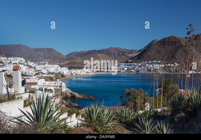 Almeria, Spain, Europe, Andalusia, San Jose, beach, blue, coast, landscape, Mediterranean, pueblo, touristic, travel, - Stock Image