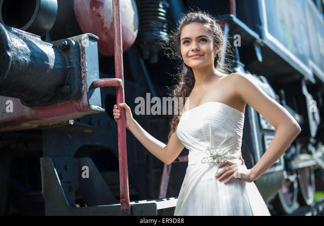 White wedding dress train stock photos white wedding for Wedding dress steaming near me