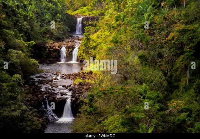UmaUma Falls. Hawaii, The Big Island. - Stock Image