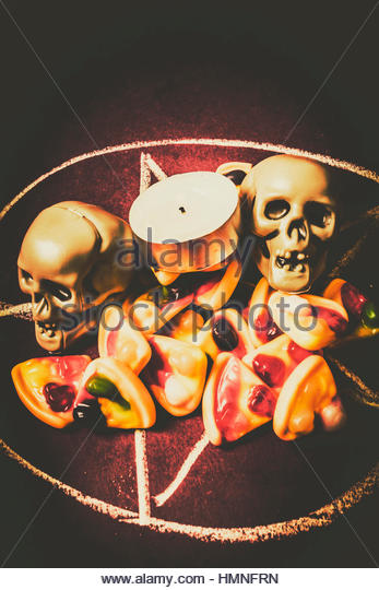 Pizzagate ritual in occultic practise with a santan circle summonsing demonic forces - Stock Image