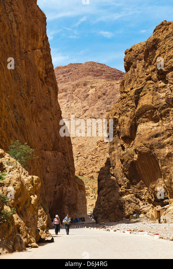 Tourists in Todra Gorge, High Atlas Mountains, Morocco, North Africa, Africa - Stock Image
