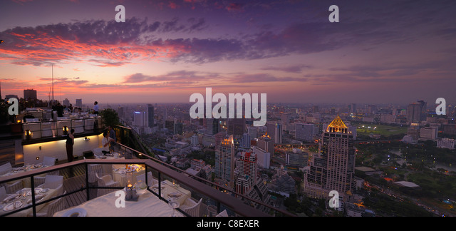 View, Bangkok, Restaurant, Vertigo Grill, Banyan Tree, Hotel, Leading Hotels of the World, City, Bangkok, Thailand, - Stock Image
