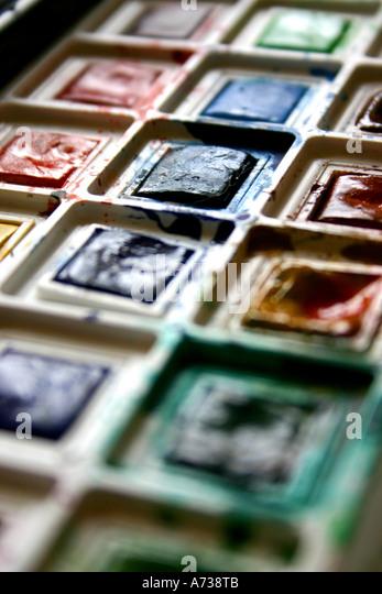 Watercolour paints - Stock Image