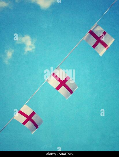 England Flags as bunting - Stock Image