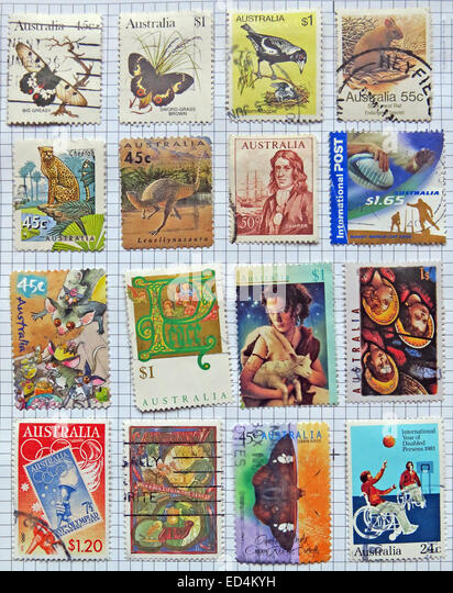 A mixture of franked Australian postage stamps - Stock Image