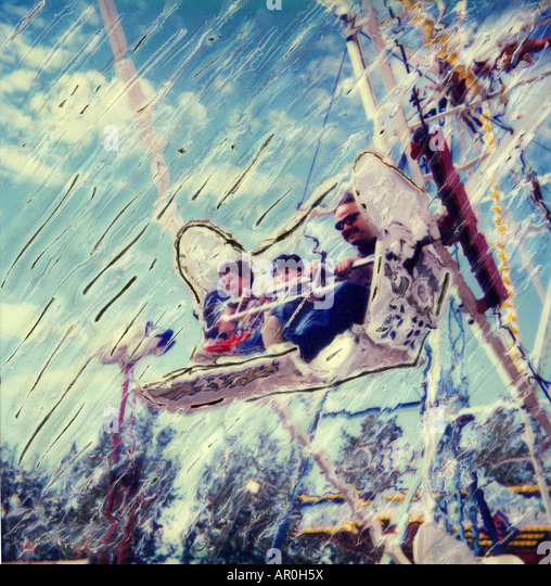 Family on Ferris Wheel Alaska State Fair Palmer AK Summer SC Manipulated Polaroid - Stock Image
