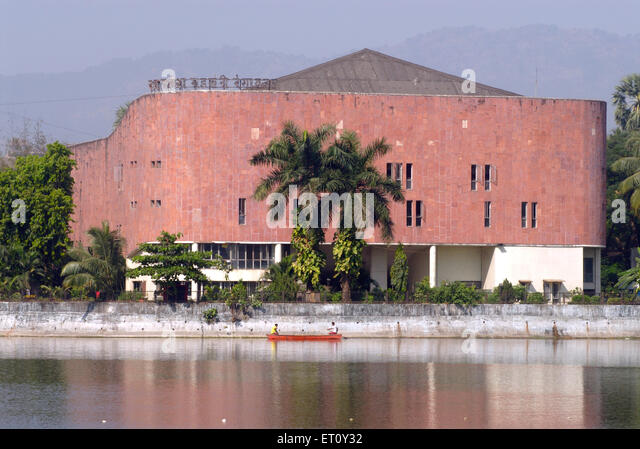 Ram Ganesh Gadkari Rangayatan Marathi drama theatre reflection in water of Masunda lake or Talao Pali ; Thane - Stock Image