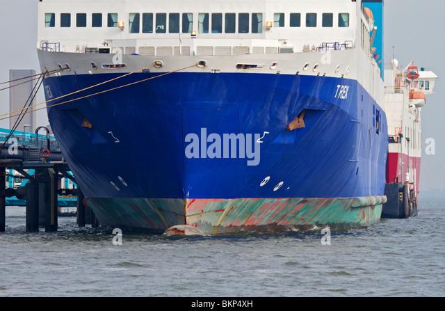 Liverpool/Dublin ferry T REX moored at Birkenhead Ro-Ro ferry Terminal. - Stock Image