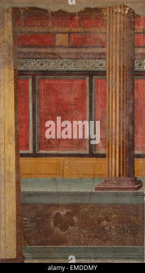 Roman painting. Illusionistic architecture. Late Republican. 1st century BC. Villa of P. Fannius Synistor at Boscoreale, - Stock Image
