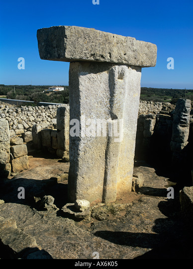 Menorca. Minorca Balearic islands.Taula, Torralba d'en Salord.near Alaior Menorca, Spain. Megalithic monument. - Stock Image