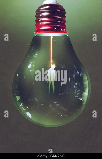 light bulb with the hanged man inside on dark background,illustration painting - Stock-Bilder