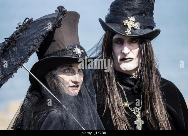 Whitby, North Yorkshire, England, UK. 21st April, 2017. Weather: Bright and breezy at Whitby as thousands of Goths, - Stock Image