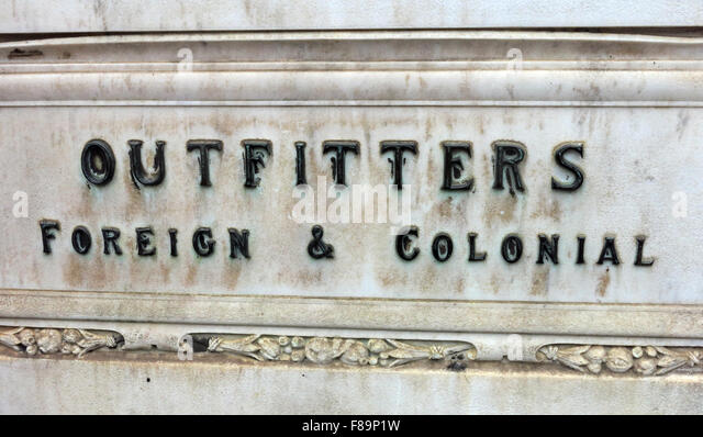Outfitters,Foreign & Colonial sign at Jenners Store, Edinburgh, Scotland - Stock Image