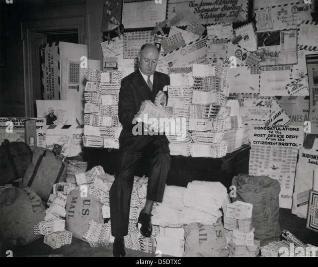 Postmaster General James A. Farley During National Air Mail Week, 1938 - Stock Image