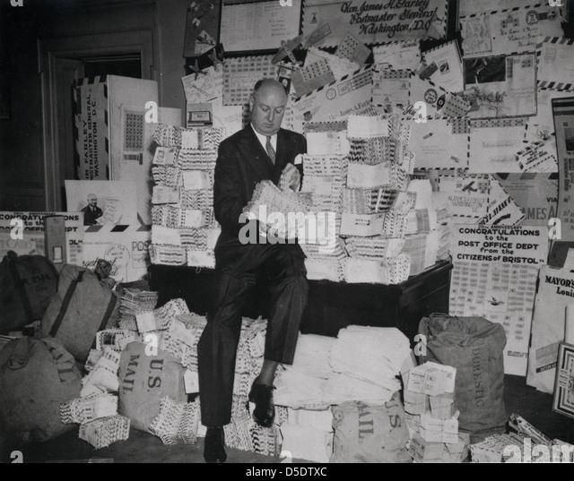 Postmaster General James A. Farley During National Air Mail Week, 1938 - Stock Image