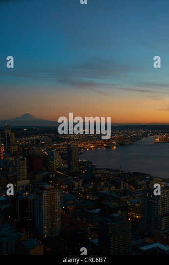 Aerial view of Seattle city skyline - Stock-Bilder