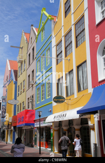 Curaçao Netherlands Antilles Dutch Willemstad Punda Heerenstraat UNESCO World Heritage Site business district - Stock Image