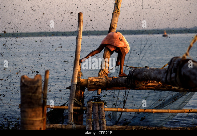 A fisherman using a  traditional Chinese nets to catch fishes in Kochi Kerala state.  South India - Stock-Bilder