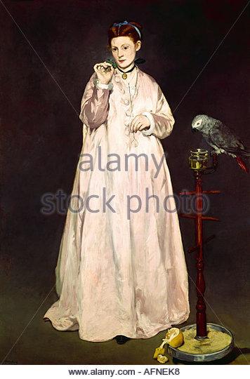 'fine arts, Manet, Edouard, (1832 - 1883), painting, 'La Femme au Perroquet', ('woman with a parrot'), - Stock Image