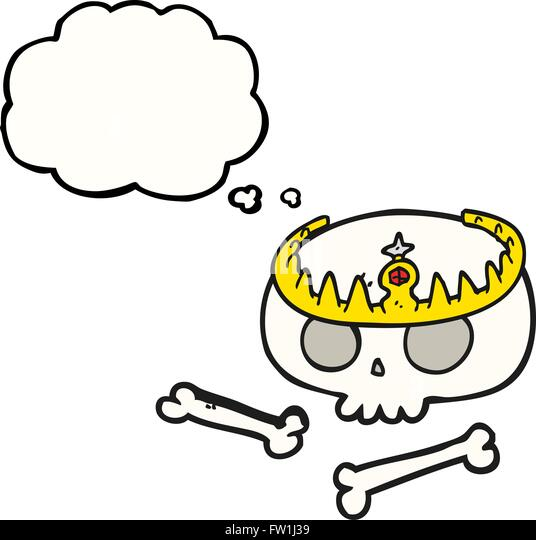 freehand drawn thought bubble cartoon skull wearing tiara - Stock Image