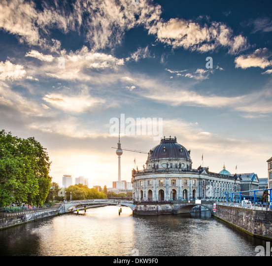 Berlin, Germany view of Museum Island and Television Tower just after sunrise. - Stock Image