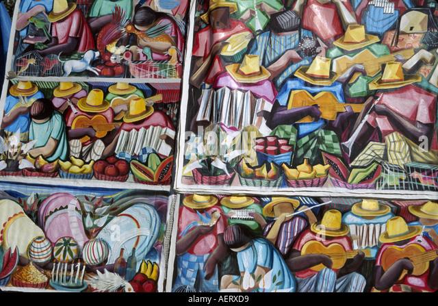 Brazil Rio de Janeiro General Posorio Square Hippie Market art for sale - Stock Image