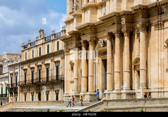 Noto Cathedral in Noto, Sicily, Italy, dedicated to Saint Nicholas of Myra, decorated in Sicilian Baroque - Stock Image