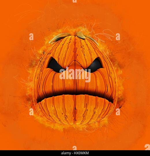 Grunge Halloween background with an evil pumpkin - Stock Image