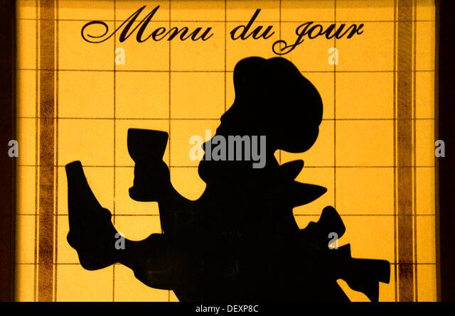 Menu sign at the ´Bistrot de pays´, Panjas, Gers, Midi-Pyrenees, France - Stock-Bilder