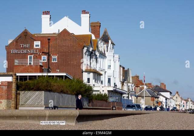 The Brudenell Hotel in Aldeburgh, Suffolk looking over the beach - Stock Image