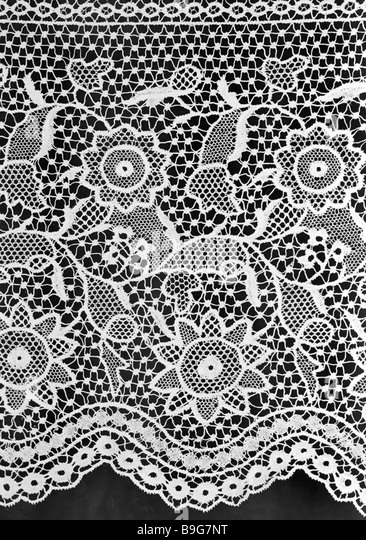 Russian lace netted in the second half of the 19th century - Stock Image