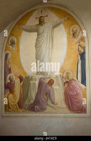 Transfiguration, Cell 6, by Fra Beato Angelico,  1440-42, Convent of San Marco, Florence, Tuscany, Italy, Europe - Stock Image