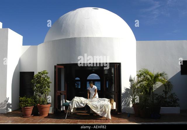Anguilla Guest Receiving Massage at Cap Juluca - Stock Image