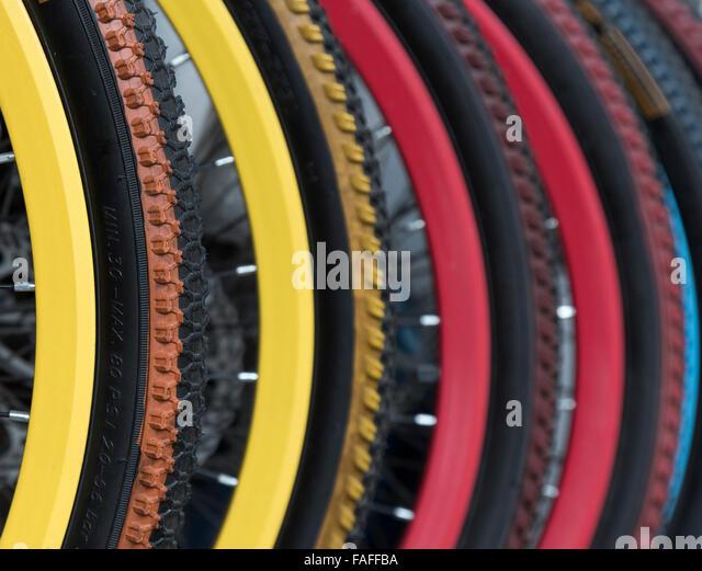 Colorful Bicycle wheels - Stock-Bilder