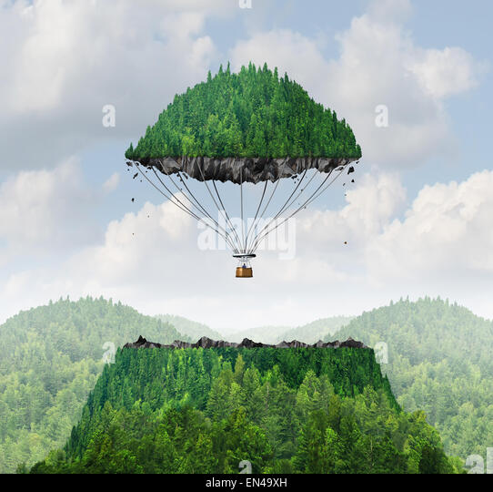 Imagination concept as a person lifting off with a detached top of a mountain floating up to the sky as a hot air - Stock Image