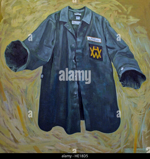 Harland & Wolff blue shirt, Billy McCracken - Marine Sales Manager artwork, Belfast, Northern Ireland, UK - Stock Image