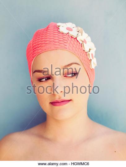 Swim Cap Cutie - Stock-Bilder