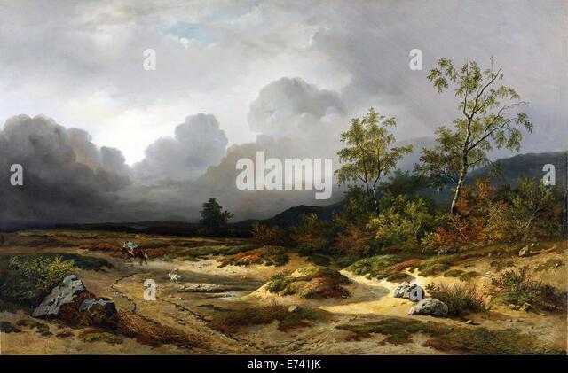 Landscape with a Thunderstorm Brewin - by Willem Roelofs, 1850 - Stock-Bilder