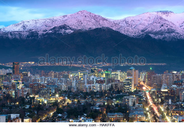 View of Residential and Office Buildings in Las Condes, Santiago de Chile, Chile with Andes Mountain Range in the - Stock Image