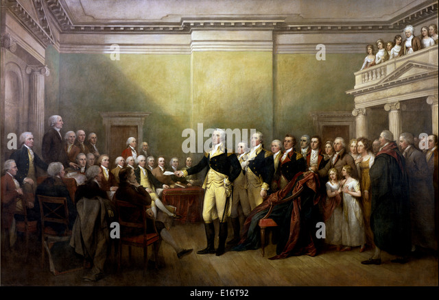 General George Washington Resigning his Commission by John Trumbull - Stock Image