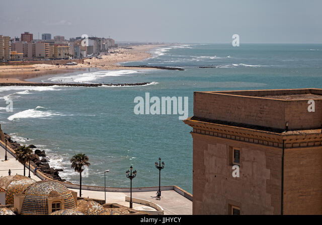View from the Roof, Cadiz Cathedral (Catedral de Santa Cruz de Cádiz), Plaza Catedral, Cadiz, Spain - Stock Image