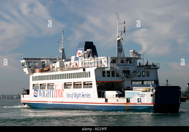 Isle of Wight ferry docking at Portsmouth Harbour Hampshire England UK - Stock Image