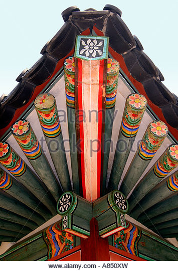 Roof Detail of the Gyeongbokgung Palace in Seoul - Stock Image