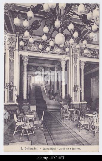 Grand Hotel, San Pellegrino, Italy, Vestibule & Grand Staircase - Stock Image
