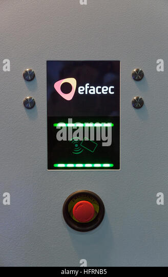 Efacec electric vehicle fast car charger for electric and hybrid cars at 1st International Trade Show of Electric - Stock Image