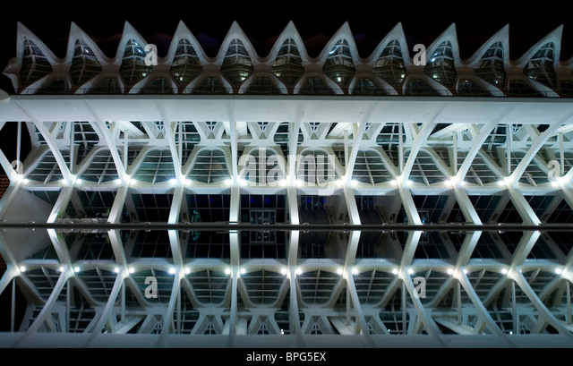 Valencia, Spain - long exposure nightshot of the details of modern architecture - Stock-Bilder