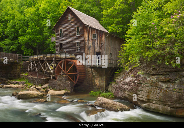 The Glade Creek Grist Mill in Babcock State Park, West Virginia, USA. Photographed in spring. - Stock Image