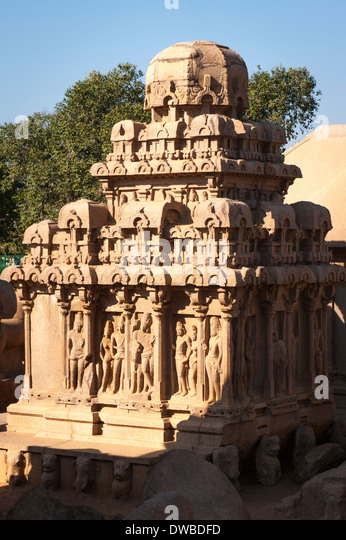 India Tamil Nadu Mamallapuram Mahabalipuram mandapas Kanchipuram Panch five Rathas 7th century Arjuna Ratha Shiva - Stock Image