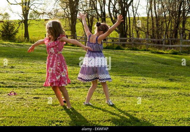 girls dancing - Stock Image