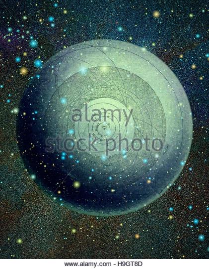Vintage Cosmic World retro vintage space astronomy star gazing - Stock Image
